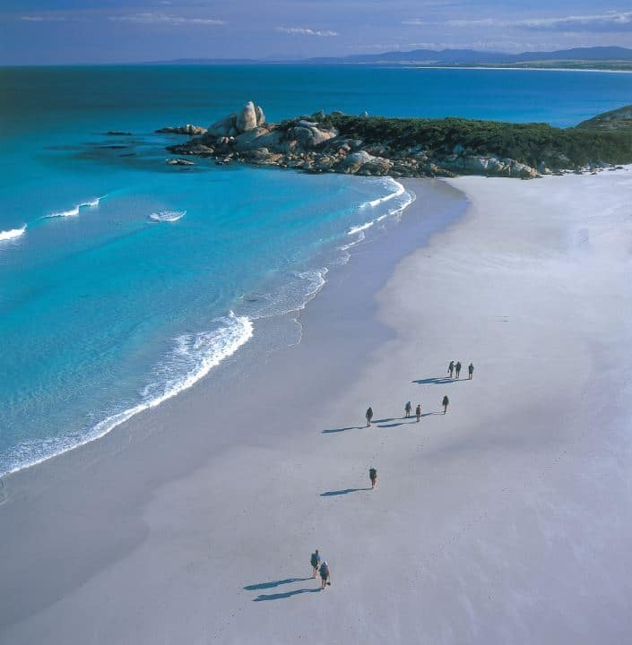 Tasmania bay of fired lodge aerial beach