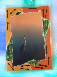 """""""H is for Heron"""" - artist trading card"""