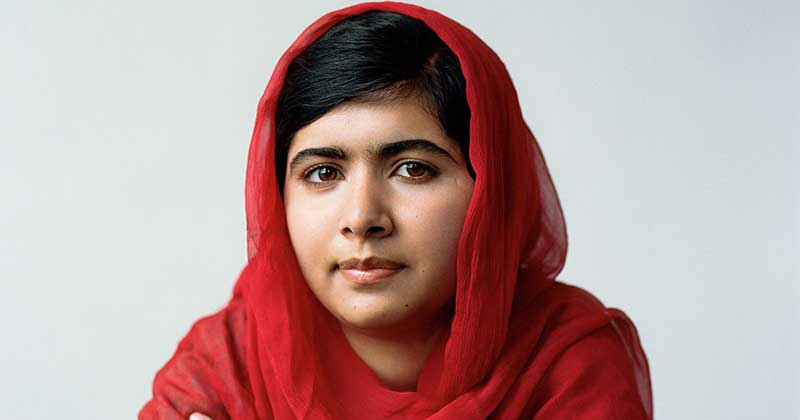 malala in her red scarf