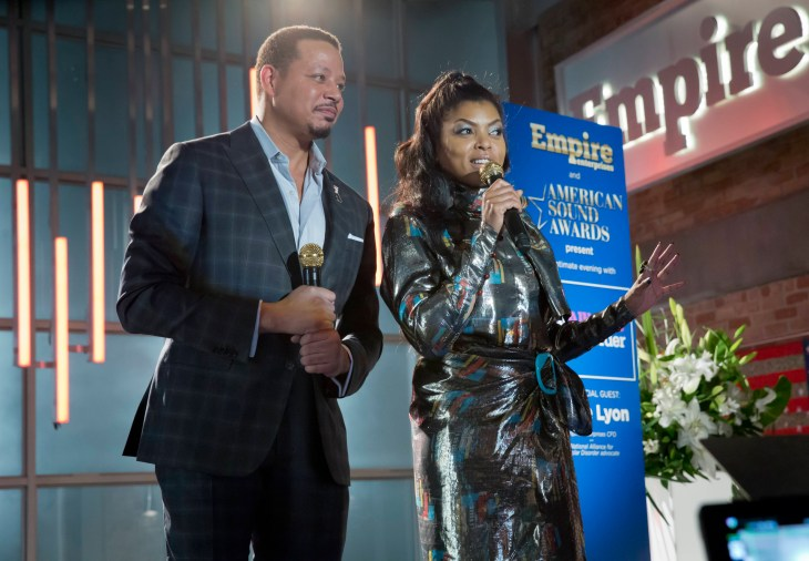 "EMPIRE: Pictured L-R: Terrence Howard and Taraji P. Henson in the ""More Than Kin"" episode of EMPIRE airing Wednesday, April 27 (9:00-10:00 PM ET/PT) on FOX. ©2016 Fox Broadcasting Co. CR: Chuck Hodes/FOX"