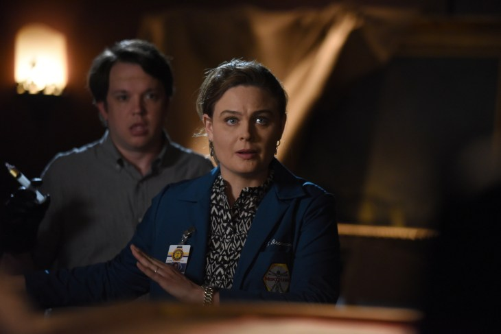 """BONES: L-R: Guest star Eric Millegan and Emily Deschanel in the """"The Final Chapter: The Hope in the Horror"""" season premiere episode of BONES airing Tuesday, Jan. 3 (9:01-10:00 PM ET/PT) on FOX. ©2016 Fox Broadcasting Co. Cr: Ray Mickshaw/FOX"""