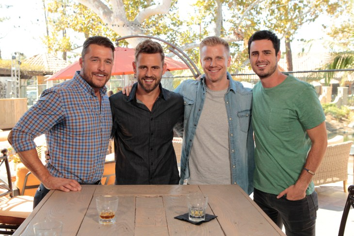 """THE BACHELOR - """"Episode 2101"""" - A trio of popular former Bachelors - Sean Lowe, Chris Soules and Ben Higgins –offer their support and encouragement to Nick, who will face all new pressures and responsibilities on the highly anticipated 21st season premiere of """"The Bachelor,"""" MONDAY, JANUARY 2 (8:00-10:00 P.M., ET), on the ABC Television Network. (ABC/Rick Rowell)"""