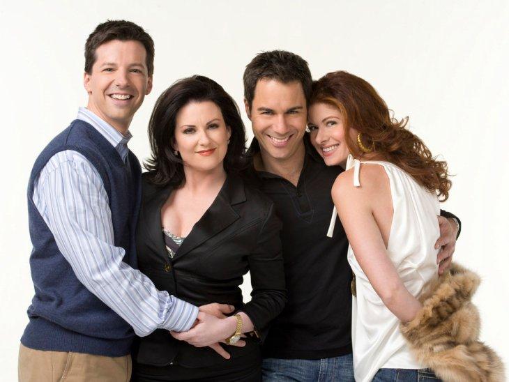 WILL & GRACE -- Season 8 -- Pictured: (l-r) Sean Hayes as Jack McFarland, Megan Mullally as Karen Walker, Eric McCormack as Will Truman, Debra Messing as Grace Adler -- (Photo by: George Lange/NBC)