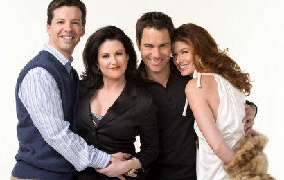 WILL & GRACE -- Season 8 -- Pictured: (l-r) Sean Hayes as Jack McFarland, Megan Mullally as Karen Walker, Eric McCormack as Will Truman, Debra Messing as Grace Adler -- (Photo by: George Lange/NBC)