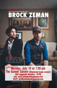 Brock Zeman returns to The Sunset Saloon, Monday, July 13!