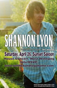 Catch Shannon at The Sunset Saloon, April 26, 2014!