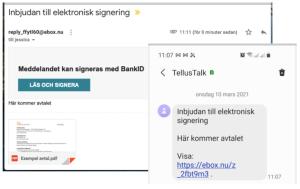 Signeringsinbjudan till mail och mobil