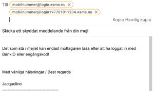 BankID-skyddat meddelande från mejl