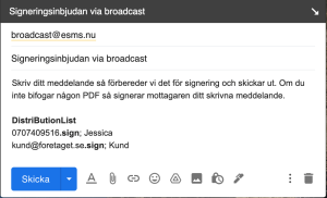 Bild -signeringsinbjudan via broadcast