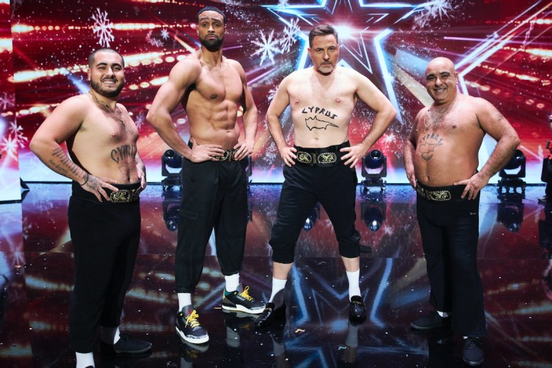Ashley Banjo and David Walliams with Stavros Flatley. Picture: ©Syco/Thames