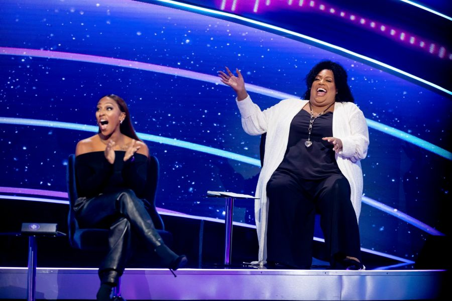 I Can See Your Voice. Picture Shows: Celebrity investigators. Alexandra Burke, Alison Hammond - (C) Thames - Photographer: Tom Dymond