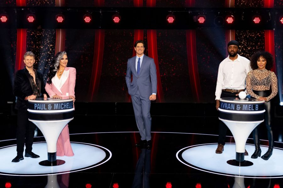 Game of Talents: Ep7 on ITV. Pictured: Paul and Michelle Visage, Vernon Kay and Kyran and Mel B.