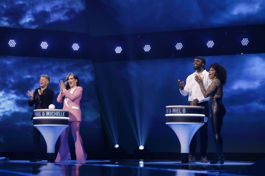 Game of Talents: Ep7 on ITV. Pictured: Paul and Michelle Visage, Vernon Kay and Kyran and Mel B. Picture: ©Thames