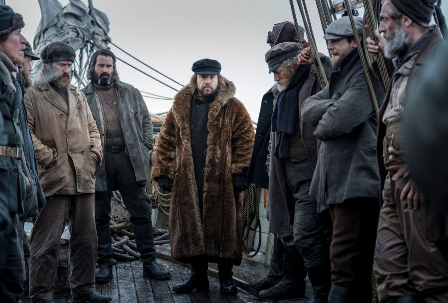 The North Water -Cavendish (SAM SPRUELL), Supporting Artists, Henry Drax (COLIN FARRELL), Captain Brownlee (STEPHEN GRAHAM), Supporting Artists, Patrick Sumner (JACK O'CONNELL), Otto (ROLAND MØLLER) - (C) See-Saw Films - Photographer: Nick Wall