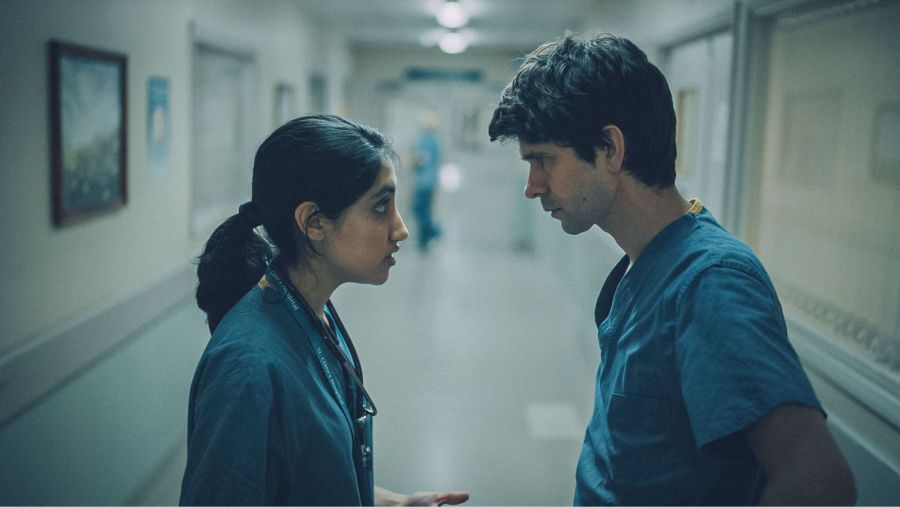 This Is Going To Hurt - First Look -  Shruti (AMBIKA MOD), Adam (BEN WHISHAW) - (C) Sister - Photographer: Screen Grab