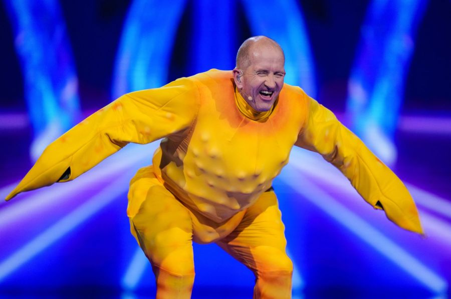 Eddie The Eagle as Rubber Chicken. Picture: ITV/©Bandicoot TV
