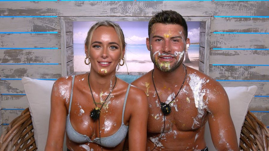 The Islanders take part in the Spit The Roast challenge: Millie and Liam.