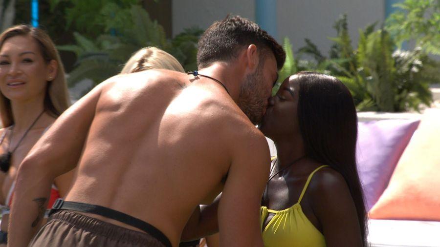 Liam kisses kaz during Snog, Marry or Pie.