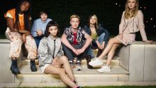 Tell Me Everything cast. Left to right: Lauryn Ajufo (Neve), Spike Fearn (Louis), Callina Liang (Mei), Eden H. Davies (Jonny), Tessa Lucille (Regan) and Carla Woodcock (Zia).