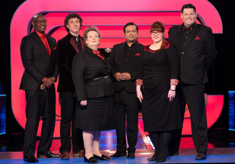 Beat The Chasers: (L-R) Shaun Wallace, Darragh Ennis, Anne Hegerty, Paul Sinha, Jenny Ryan and Mark Labbett. Picture; ITV