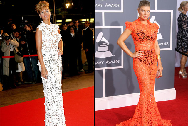Before Fergie wore her sheer orange frock to the 2012 Grammys, Rihanna rocked an almost identical dress to the 2010 NRJ Awards.