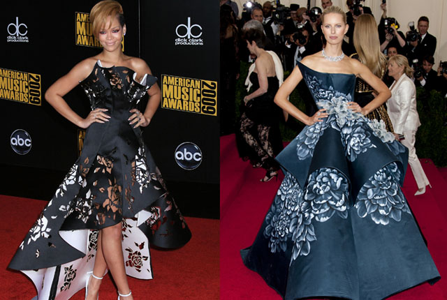 In 2009, Rihanna was a vision in this origami-style gown at the American Music Awards before Kurkova borrowed the avant garde style for the 2014 Met Gala.