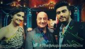 Sonam and Arjun in a selfie pose with Anupam ji