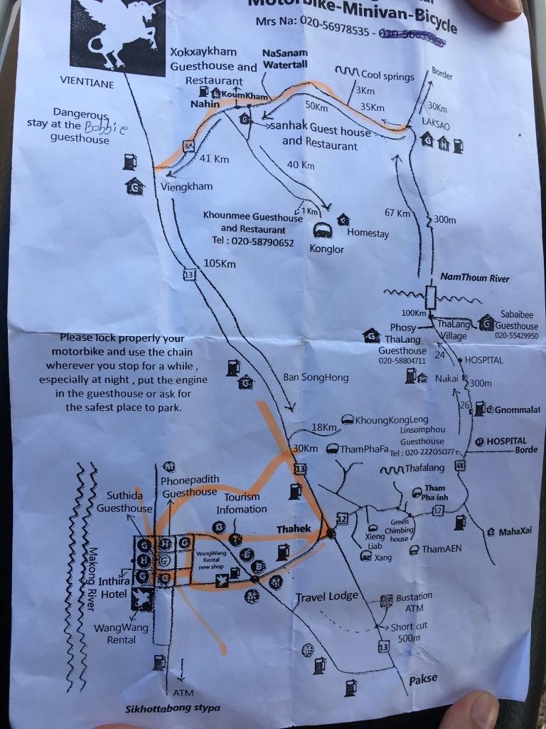 circuito en moto en Thakhek: Mapa del recorrido