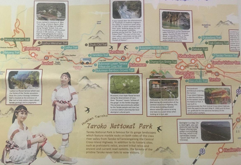 Guía para viajar al parque nacional de Taroko: mapa del bus