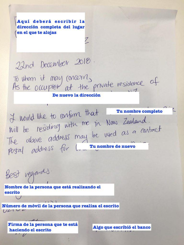 Abrir una cuenta de banco en Nueva Zelanda: proof of address.
