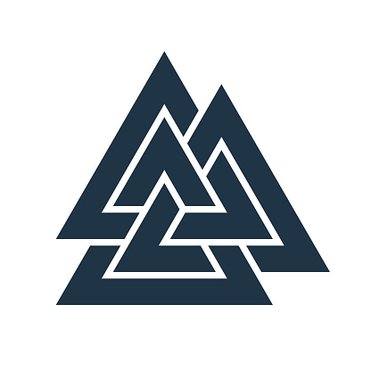 Interwoven triangles. valknut. Vector illustration. Flat icon. Logo, tattoo, amulet. Esotericism, the occult, sacred geometry.