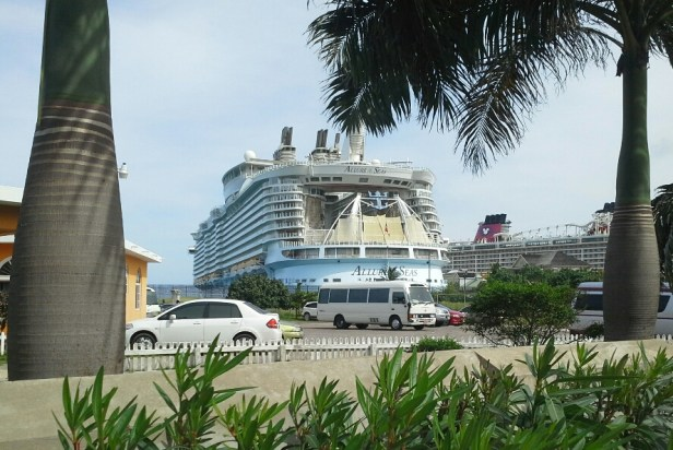 Cruise ship berthed in town