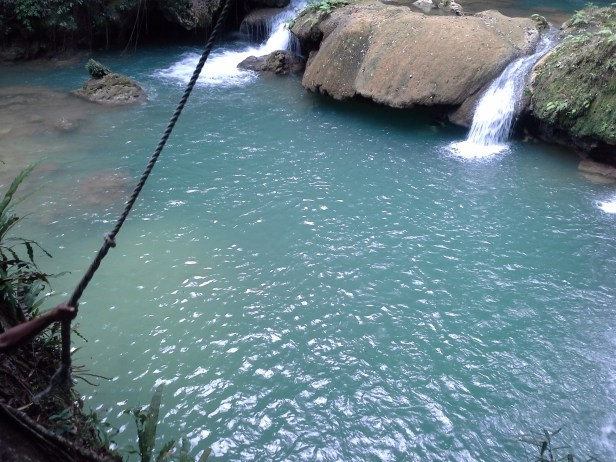 It's a long way down. The big rope swing. I did it jump