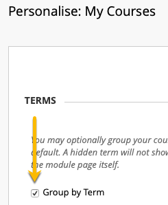group by term checkbox