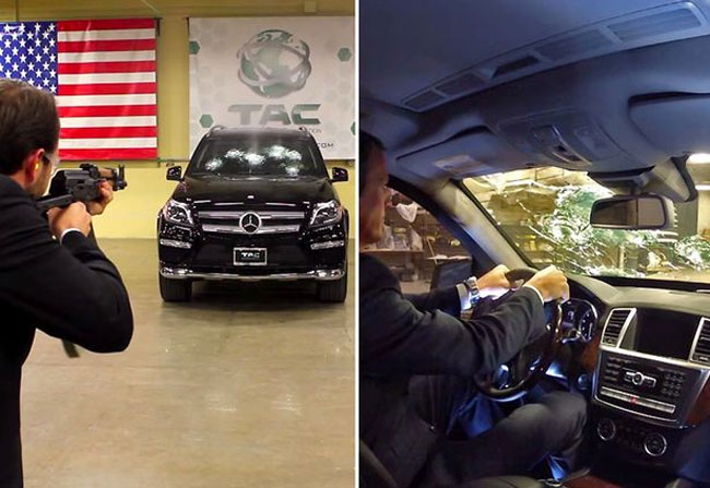 CEO of Mercedes testing a bulletproof benz car with AK-47