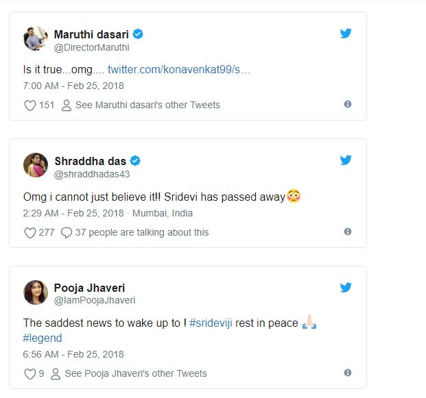 celebrities comments on sridevi death