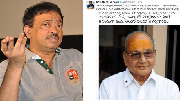 ram gopal varma tweets on k vishwanath about Dadasaheb Phalke award