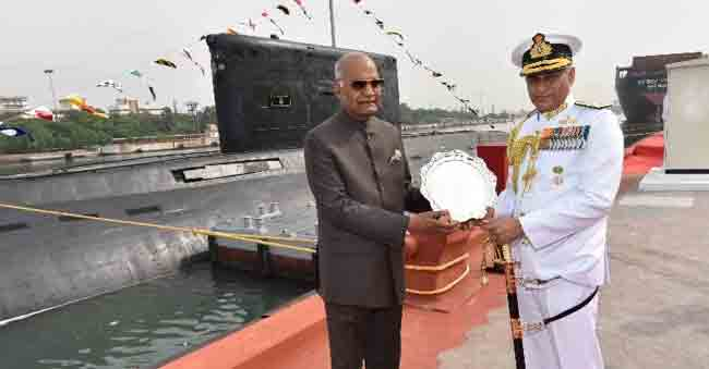 Submarine arm of Indian Navy awarded Presidential Colors in Vishakhapatnam