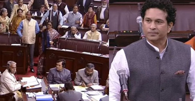 Congress Members Created Ruckus for Sachin's maiden speech!