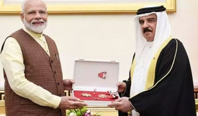 Modi on Saturday with the King Hamad Order of the Renaissance.
