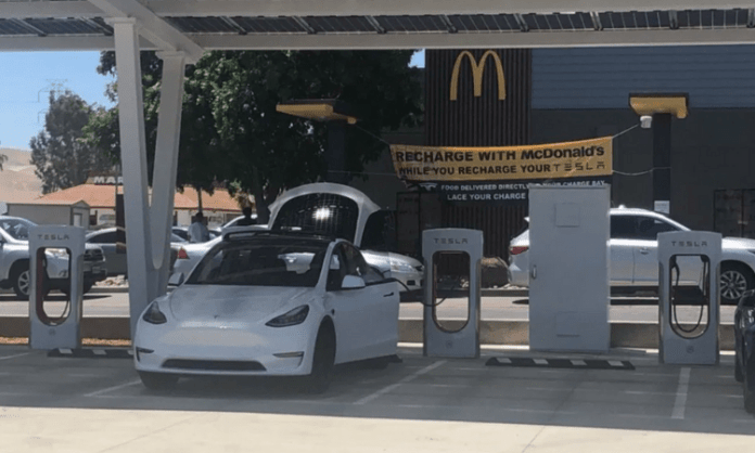 Tesla Supercharger station gets direct service from McDonald's