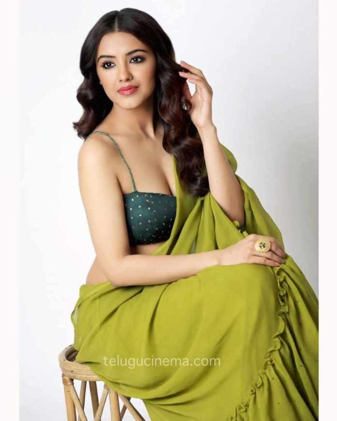 Malvika Sharma in a green Saree