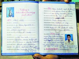 PHOTO AND CAPTiON PROVIDED BY SUDIPTO MANDAL: Rohit Vemula's entry in Sheikh Riyaz's slam book *Pice received on January 26, 2016*
