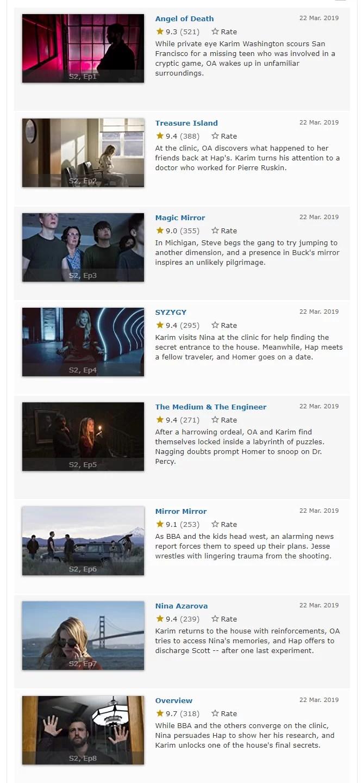 segunda temporada the oa imdb notas