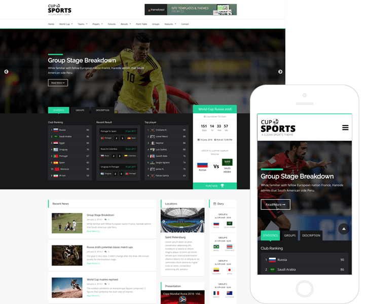 Tema de Deportes con Bootstrap 4 - Sports Cup | Temas de WordPress