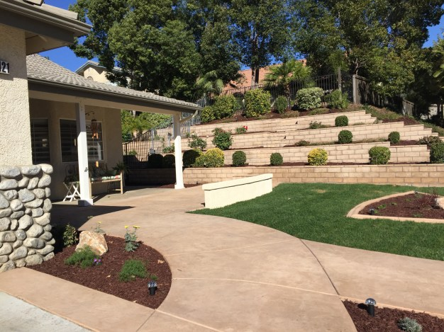 Front yard design with concrete walkways and sitting wall in Temecula McCabe's Landscape Construction