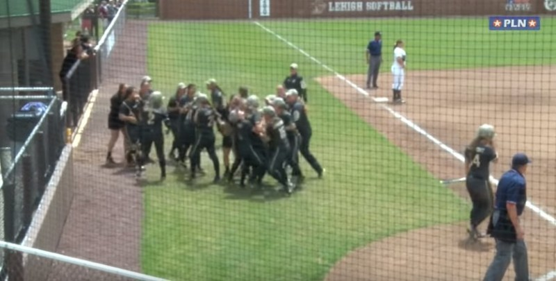 Army Softball  Kasey McCravey Leaps Over Catcher to Score vs. Lehigh 5 14 16   YouTube