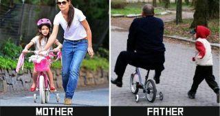 父親と母親の子育ての違いを描いた10枚の比較写真に男性の冷や汗が止まらない(汗