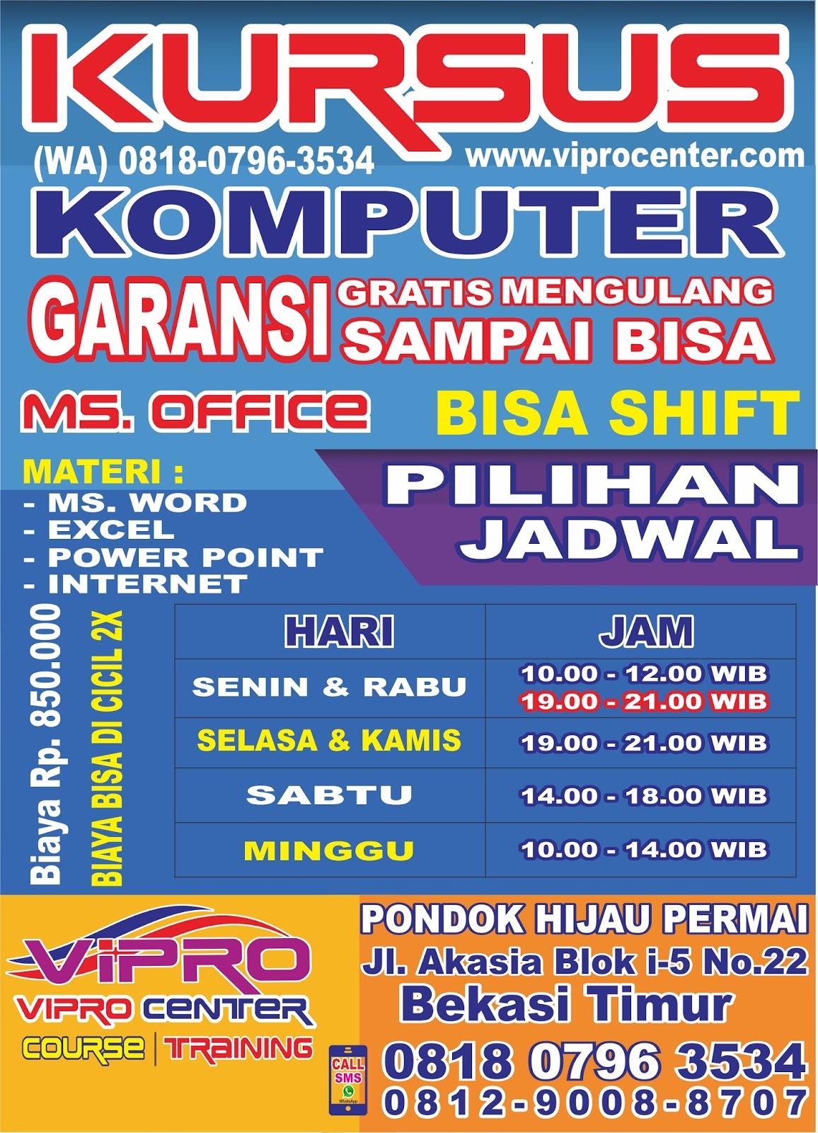 Tempat Kursus Komputer Ms Office Di Bekasi Hub Wa