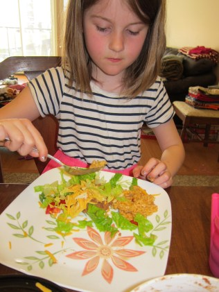Thing 2 made a bit of a Tostada Salad after her first one exploded.